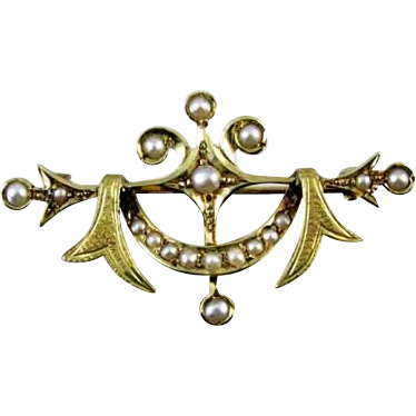 Signed Jablow MFG Co Antique Edwardian 14k gold seed pearl pin