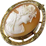 Antique Edwardian 10k gold Greek Key filigree cameo brooch pin pendant
