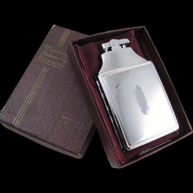 Cigarette case lighter Ronson chrome vintage Art Deco M63 C&E Near Mint Unused Old Stock