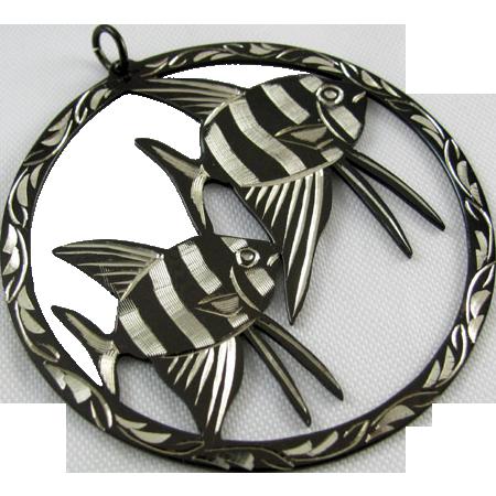 Vintage sterling silver large niello black enamel zebra angel fish medallion pendant