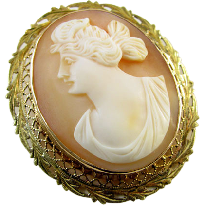 Antique Edwardian gold filigree cameo brooch pin