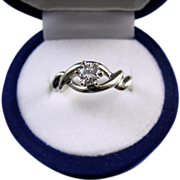 Modern Estate 14k white gold .27 carat diamond solitaire engagement ring
