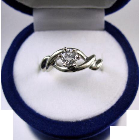 Modern Estate 14k white gold .27 carat diamond solitaire engagement ring