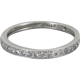 Vintage 14k white gold 20 diamond wedding ring anniversary band