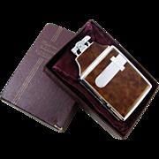 Cigarette case lighter Ronson brown enamel chrome vintage Art Deco M69 C&E Near Mint Unused Old Stock