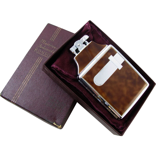 Cigarette case lighter Ronson brown enamel chrome vintage Art Deco M69 C&E Near Mint Unused Old Stock