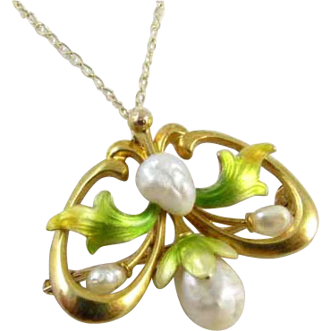 Signed Krementz antique Edwardian Art Nouveau 14k gold enamel pearl pendant brooch pin
