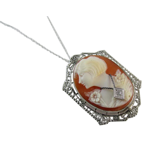 Vintage early Art Deco 10k white gold filigree diamond En Habillle cameo brooch pin pendant necklace