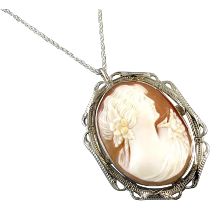 Vintage early Art Deco 14K white gold cameo brooch pin pendant necklace