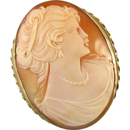 Vintage estate LARGE 14k gold cameo pendant brooch pin