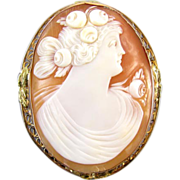 Antique Edwardian 14k rose gold filigree cameo brooch pin pendant necklace