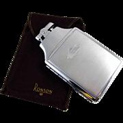 Cigarette case lighter Ronson chrome vintage Art Deco M104 C&E