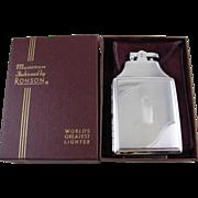 Cigarette case lighter Ronson chrome vintage Art Deco M55 C&E Near Mint Unused Old Stock