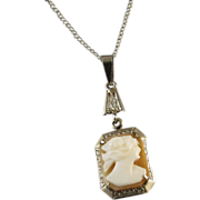 Vintage early Art Deco 14k white gold cameo lavalier pendant necklace