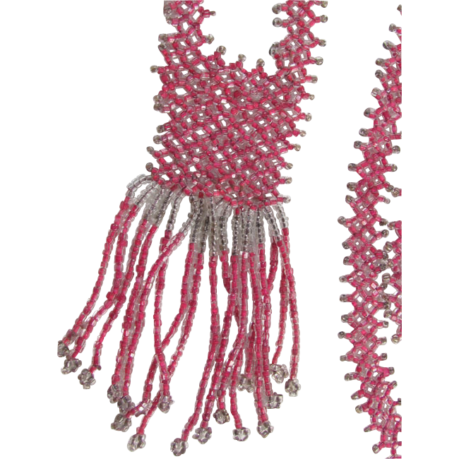 Vintage early Art Deco French pink silver beaded sautoir fringe flapper necklace