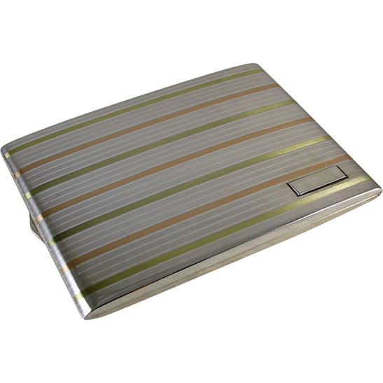 Christmas 1927 vintage early Art Deco sterling silver 14k gold cigarette case business card case signed Betteridge