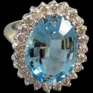 MASSIVE vintage estate 14k white gold 14.12 carat blue topaz 1.20 carat diamond cocktail ring