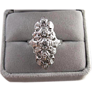 Vintage early Art Deco 14k white gold filigree 1 carat diamond ring