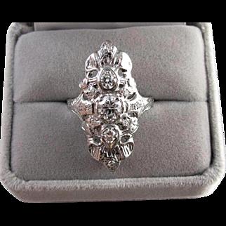 Vintage early Art Deco 14k white gold filigree 1 carat diamond ring