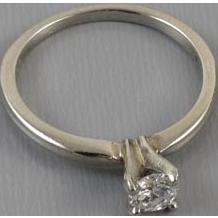 Vintage estate 14k white gold .33 carat diamond solitaire engagement ring