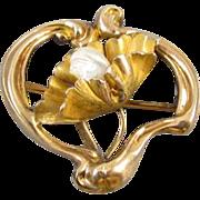 Antique Edwardian Art Nouveau stylized heart 10k pearl water lily pad booch pin