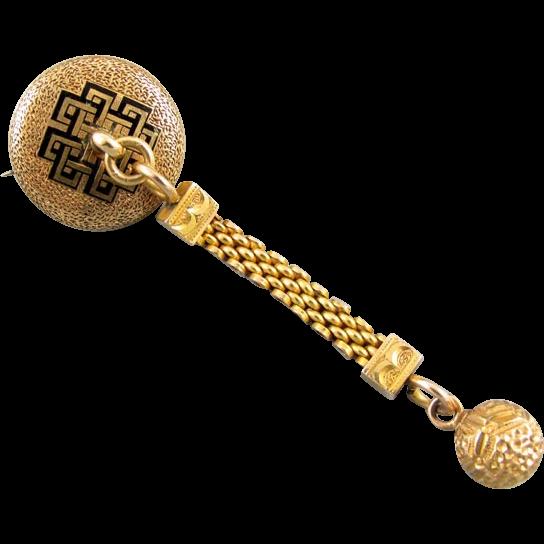 Antique Victorian 14k gold enamel doorknocker brooch pin necklace pendant