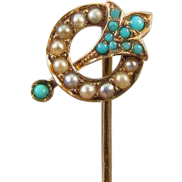 Antique Victorian 14k gold seed pearl Persian blue turquoise stick pin stickpin lapel pin tie pin