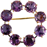 Vintage estate 18k gold purple amethyst circle pin brooch