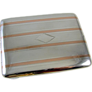 Cigarette case sterling silver 14k gold Art Deco signed Marathon 3.5 ounce M123C&E