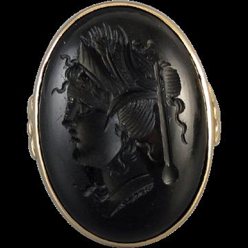 Antique Edwardian 14k gold black onyx intaglio cameo ring