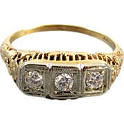 Antique Edwardian 14k filigree 3 diamond anniversary wedding engagment ring .30 carat