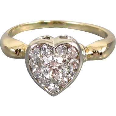 Antique Edwardian 14k gold .44 carat diamond cluster heart shaped halo ring, size 5-1/2