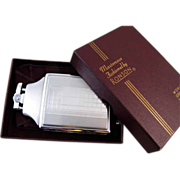 Cigarette case lighter Ronson chrome vintage Art Deco M128 C&E Near Mint Unused Old Stock