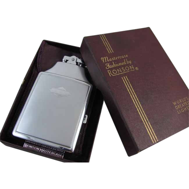 Cigarette case lighter Ronson chrome vintage Art Deco M129 C&E Near Mint Unused Old Stock