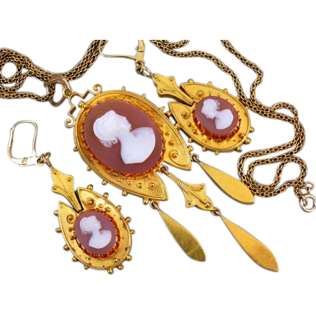Antique Victorian Etruscan Revival 21k hardstone sardonyx cameo demi parure brooch pendant and earrings