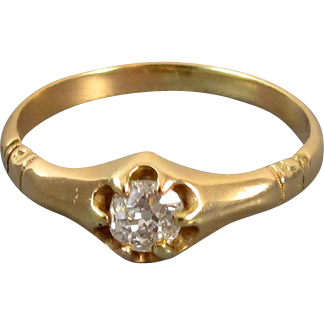 Antique Edwardian 14k gold .22 ct diamond bridal wedding solitaire engagement ring