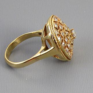 MASSIVE 14k gold 1.15 carat diamond statement cocktail dinner ring