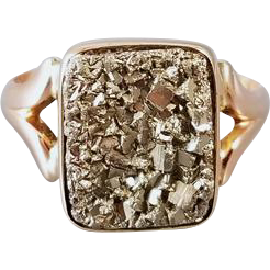 Antique Victorian 10k rose gold pyrite fools gold druzy ring, size 9.5