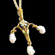 Signed Krementz antique Edwardian Art Nouveau 14k gold enamel freshwater pearl lavalier pendant necklace