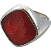 Mans vintage Art Deco 14k white gold carnelian intaglio seal ring