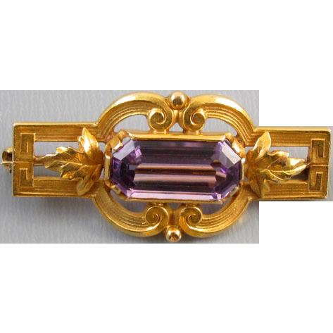 Antique Edwardian 14k bloomed gold 1.90 carat amethyst brooch pin signed Hayden W. Wheeler