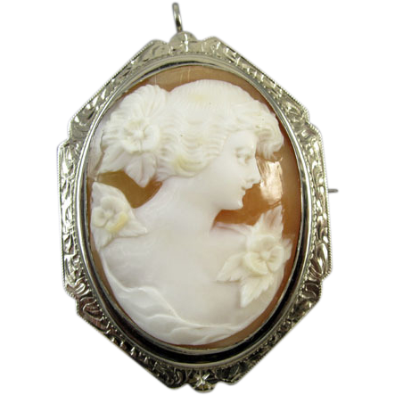 Vintage early Art Deco 14K white gold filigree cameo brooch pin pendant necklace signed Esemco Shiman