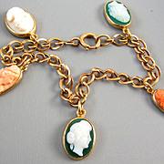 Antique Victorian rose pink gold cameo hardstone sardonyx and coral charm bracelet
