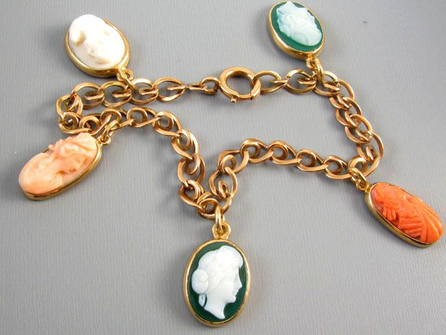 Antique Victorian rose pink gold cameo hardstone sardonyx and coral charm bracelet