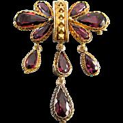 Glorious antique mid Victorian 18k gold 8.24 carats rhodolite garnet brooch pin