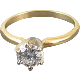 Modern estate 14k gold .75 carat diamond engagement wedding bridal solitaire ring