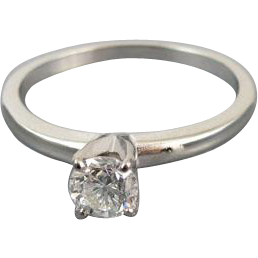 Signed Jabel vintage 18k white gold .40 carat  diamond engagement wedding bridal solitaire ring