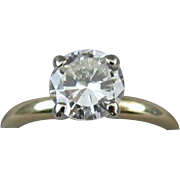 Modern estate 14k gold .92 carat diamond engagement wedding bridal solitaire ring, size 5