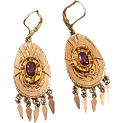 Antique Victorian 14k rose gold 1.12 carat rhodolite garnet drippy chandelier tassel fringe lever back earrings