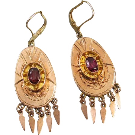 Antique Victorian 14k rose gold 1.12 carat rhodolite garnet drippy chandelier tassel fringe lever back earrings